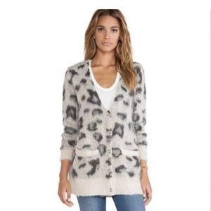 Free People Gray Leopard Sweater
